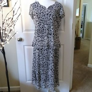 JBS Black white floral tiered dress.  Size 10